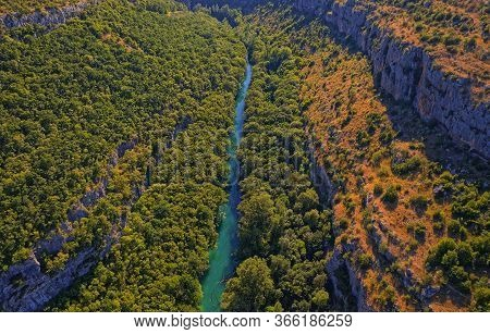 Aerial View Of The Krka River Canyon In Promina County In Croatia