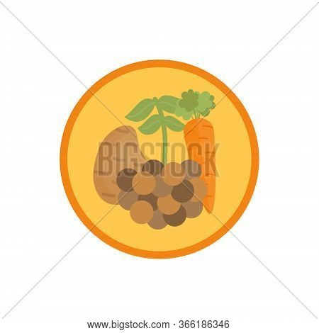 Lentil Vegetable Soup Vector Illustration Icon. Root Vegetable Broth, Stock With Legume Cute Round L