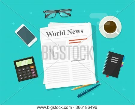 Newspaper Or Daily Press News Paper Folded Magazine On Working Business Office Table Desk Vector Fla