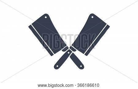 Set Of Butcher Knives Icons. Silhouette Two Butcher Knives - Cleaver Knife. Logo Template For Meat B
