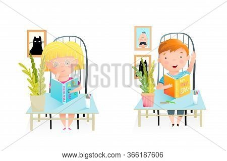 Elementary School Children, Classmates Sitting At The Desk, Studying, Reading Books. Girl Thinking A