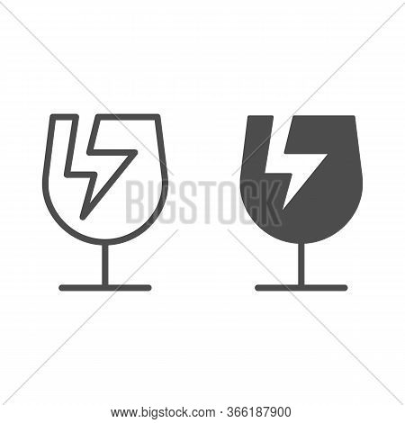 Broken Glass Symbol Of Fragile Cargo Line And Solid Icon, Logistic And Delivery Symbol, Fragile Or B