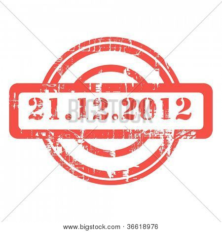 Mayan Prophesy, 21st December 2012, used red grunge stamp isolated on white background.
