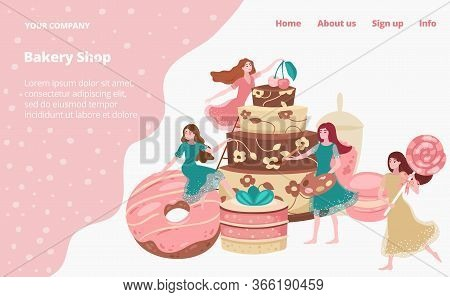 Bakery Shop Landing Page With Baked Goods, Cakes, Donuts And Pastries, Cafe Store Tiny Young Girls V