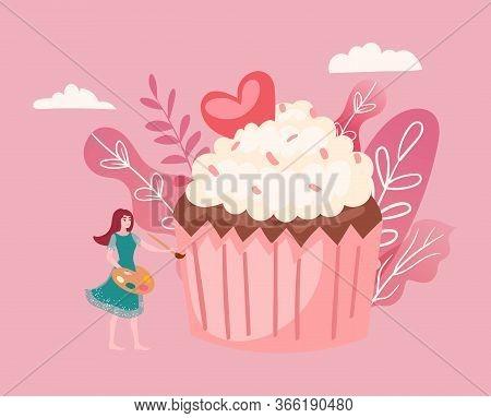 Big Cake And Tiny Girl Decorating Giant Cupcake Cartoon Vector Illustration Of Sweet Food, Celebrati