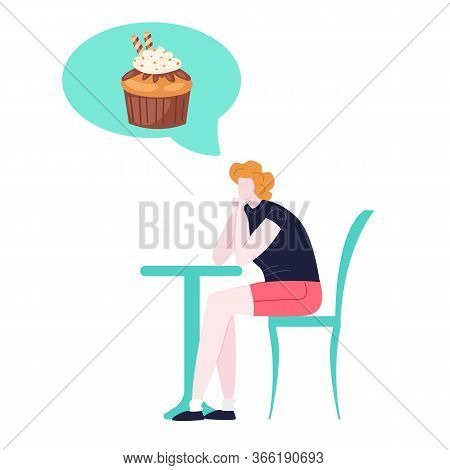 Woman On Diet Dreaming Of Tasty Cake, Unhealthy Sweet Food Cartoon Vector Illustration Isolated On W