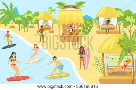 People Surfing In Sea At Beach Or Seashore Relaxing And Performing Leisure Outdoor Activities, Surf