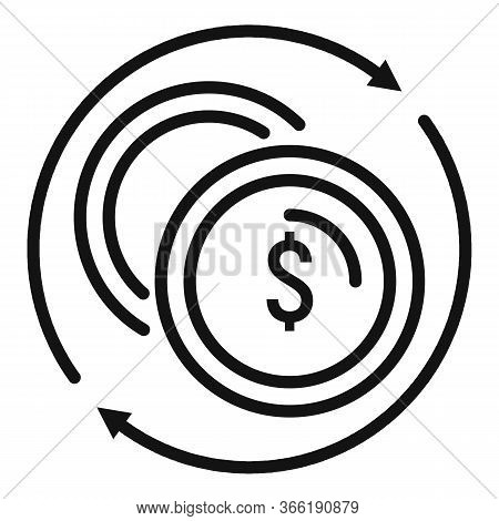Convert Money Coins Icon. Outline Convert Money Coins Vector Icon For Web Design Isolated On White B