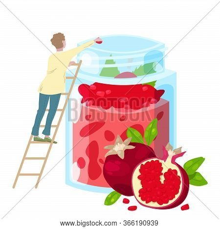Cooking Healthy Sweet Smoothie Juice From Pomegranate Fruit, Diet Fresh Drink In Glass Jar And Tiny