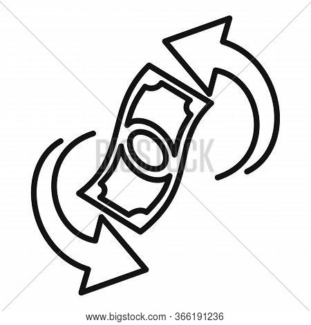 Convert Money Cash Back Icon. Outline Convert Money Cash Back Vector Icon For Web Design Isolated On