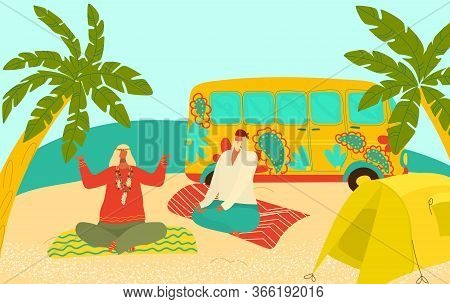 Grandparents Eldery Hippy People Travelling, Practicing Yoga On Seaside With Tent And Van Flat Vecto