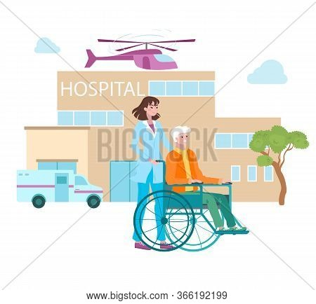 Medicine In Hospital, Clinic For Disabled Patients, Healthcare And Professional Tratment Cartoon Vec