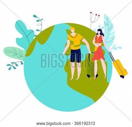 Travel, Vacation, Summer Holidays, Man And Woman Travelers With Luggage On Globe Earth Map Cartoon F