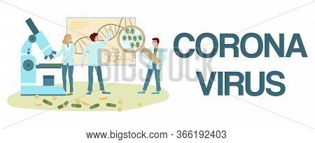 Medical Labaratory Covid-19 Virus Research And Prevention Vector Flat Illustration With Letters Coro