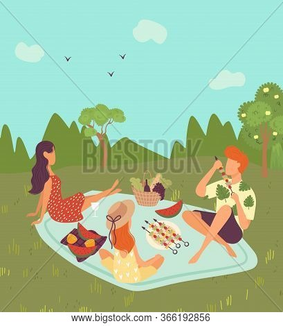Happy Family On Picnic Outdoor In Nature Or Park Landscape, Weekend For Father, Mother And Daughter