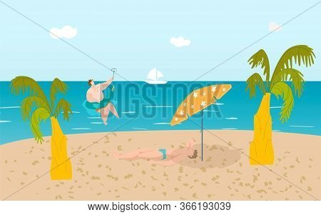 Summer Beach With Funny People, Tropical Palms And Sand, Man Sunbathes On Seaside, People Swim In Oc