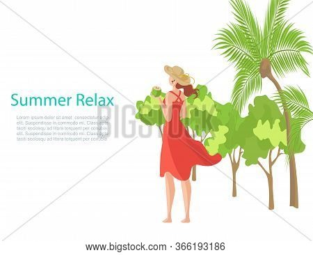 Summer Banner With Relaxing Girl On Beach On Vacation Vector Illustration. Young Woman In Red Dress