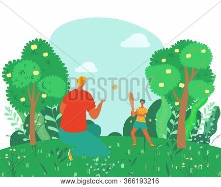 Happy Family Rest In Summer, Father Play With Son In Nature, Outside Countryside Cartoon Vector Illu
