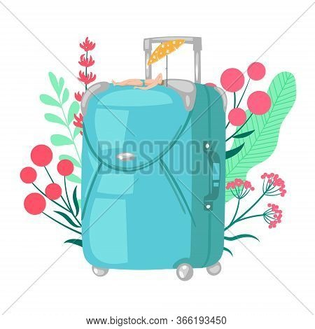 Travel Bag Luggage Vector Illustration For Trip, Vacation Baggage, Tourism, Voyage, Journey Concept