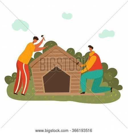 Woodworker Man At Workplace With Hummers Building Wooden House, Flat Vector Illustration Isolated On