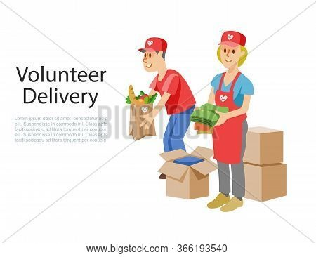 Volunteers Dellivery Of Food In Cardboard Donation Box, Products For Help To Poor Or Ill Pandemic Pe