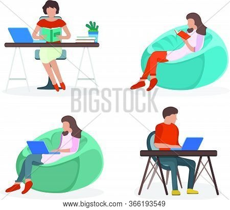 Woman And Man Sitting Workplace Table, Resting Soft Bag Chair Isolated On White, Flat Vector Illustr