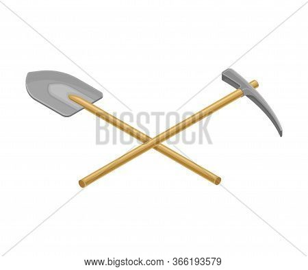 Prospecting Hammer And Shovel With Wooden Handle As Geology Instruments Vector Illustration