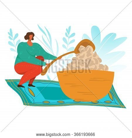 Woman Eating, Food Addiction Flat Vector Illustration, Unhealthy Lifestyle, Harmful Nutrition, Obesi
