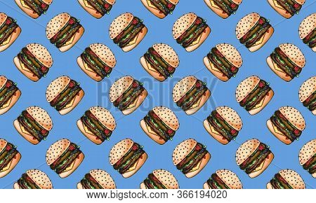 Seamless Pattern With Hand Drawn Cheeseburgers. Junk Food, Unhealthy Eating Concept. Realistic Drawi