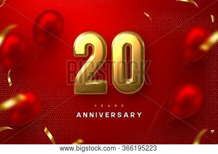 20 Years Anniversary Celebration Banner. 3d Golden Metallic Number 20 And Glossy Balloons With Confe