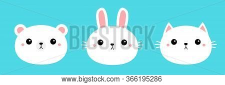 White Bear Cub Rabbit, Bunny, Cat Kitty, Kitten Round Face Head Icon Set. Cartoon Funny Baby Charact