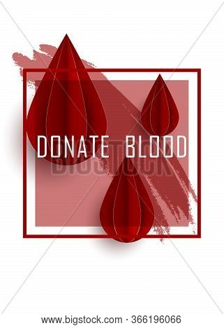 Blood Drop Paper Day Blood Donation Background. Medical Donation Concept. Vector Illustration Flat D