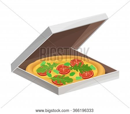 Italian Pizza With Round Flattened Dough Topped With Sliced Tomatoes And Greenery Vector Illustratio