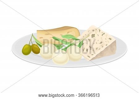 Italian Cheese Slabs Rested On Plate With Olives Vector Illustration