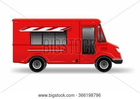 Retro Food Truck Vector Mockup On White For Vehicle Branding, Advertising, Corporate Identity. Brand