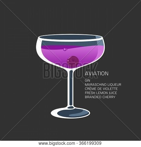 Cocktail Aviation Maraschino Liqueur Lemon Cherry Vector Illustration