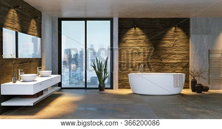 3d Illustration Of Luxury Urban Bathroom With Low Key Stone Textures. City Buildings In Background T