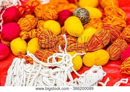 Assorted Sacred Colorful Thread During Janai Purnima Festival Or Rakchhya Bandhan At Pashupatinath T