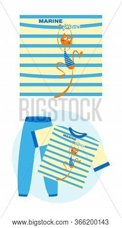 Cat Sailor. Marine Forever. Set. Cartoon Cat On The Background Of A Striped Sailors Shirt. Vector Il