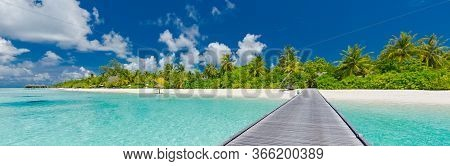 Beautiful Tropical Landscape Background, Luxury Summer Travel And Vacation. Wooden Pier Into Island