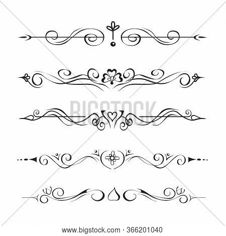 Collection Of Hand Drawn Text Dividers, Vignettes. Elegant Separators Of Paragraphs Or Page Decorati