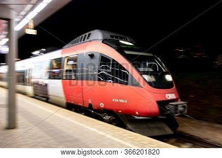 Vienna, Austria - April 21, 2014: Red Bombardier Talent 4124 005-2 Train Of Obb Austrian Company Dri