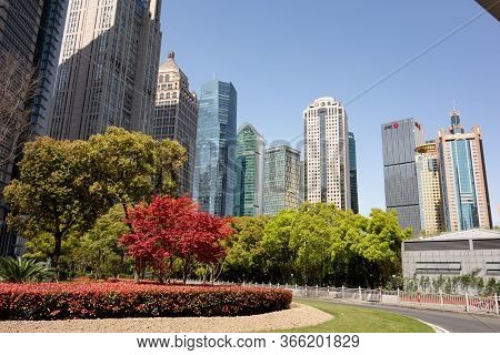 Shanghai, China - April 13, 2017: The Skyscrapers In Shanghai Pudong District Of Various Companies A