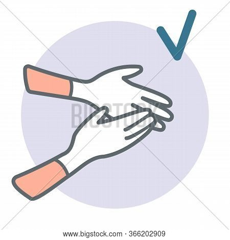 A Close Up Hands With Gloves. Showing Right Measure To Prevent Coronavirus Spreading During Quaranti