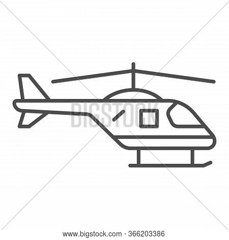 Helicopter Thin Line Icon, Air Transport Symbol, Copter Vector Sign On White Background, Small Helic