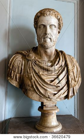Bust of an ancient Roman emperor Antoninus Pius