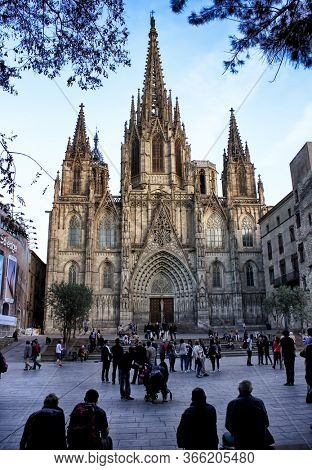 Barcelona, Catalonia, Spain - April 14, 2015: The Gothic Barcelona Cathedral, The Cathedral of the Holy Cross and Saint Eulalia