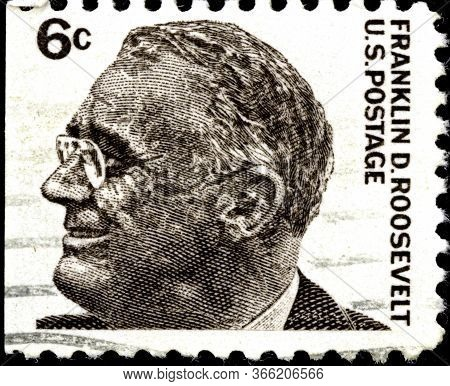 02 11 2020 Divnoe Stavropol Territory Russia The Postage Stamp United States 1966 Prominent American