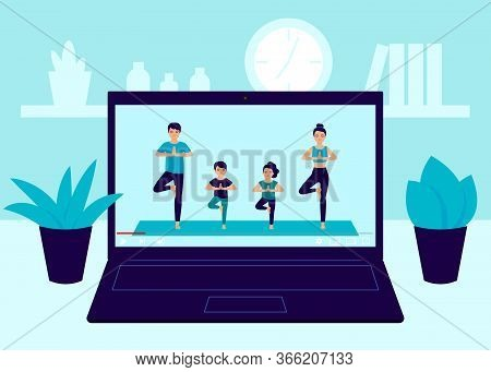 Laptop Screen Video Of Yoga Family Exercise At Home. Father, Mother And Children Workout, Practicing