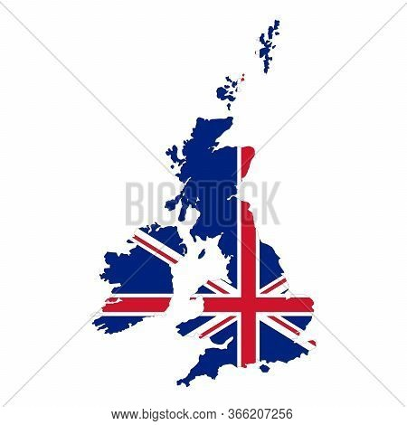 Map of United Kingdom. Vector design isolated on white background. Shape of United Kingdom map filled up with UK flag colors.